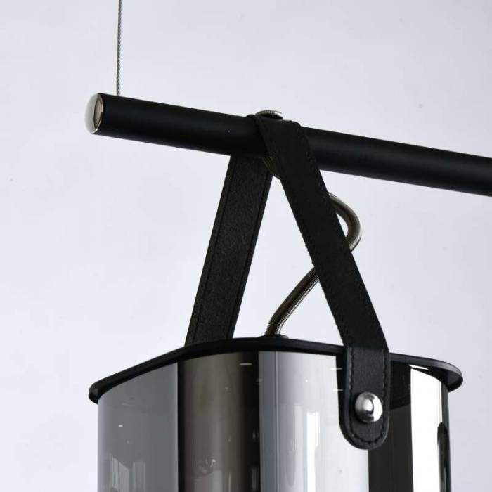 Plafonieră Polly, 113x12x80 cm, metal/ sticla, negru