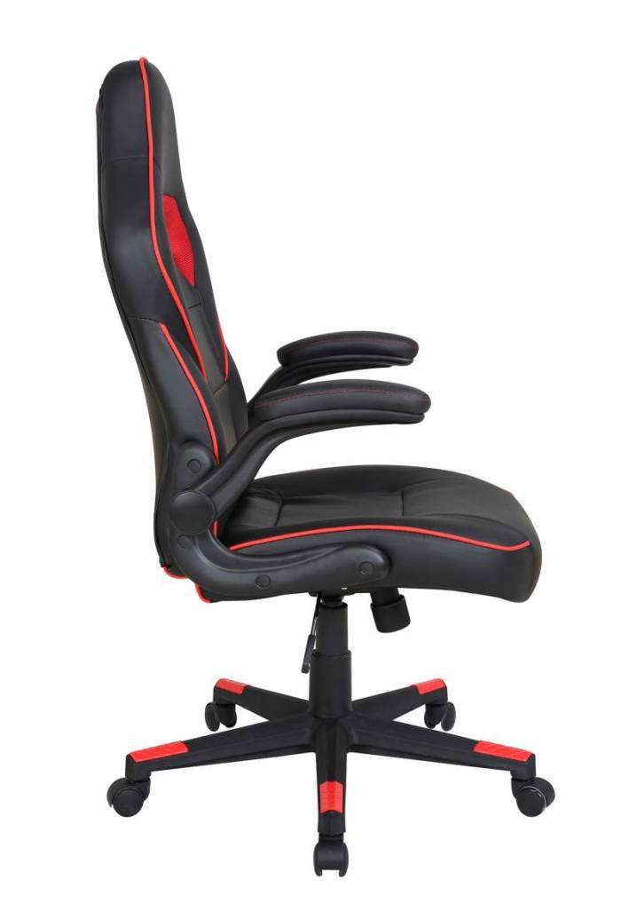 Scaun de birou ajustabil Bower, PU, negru/roșu