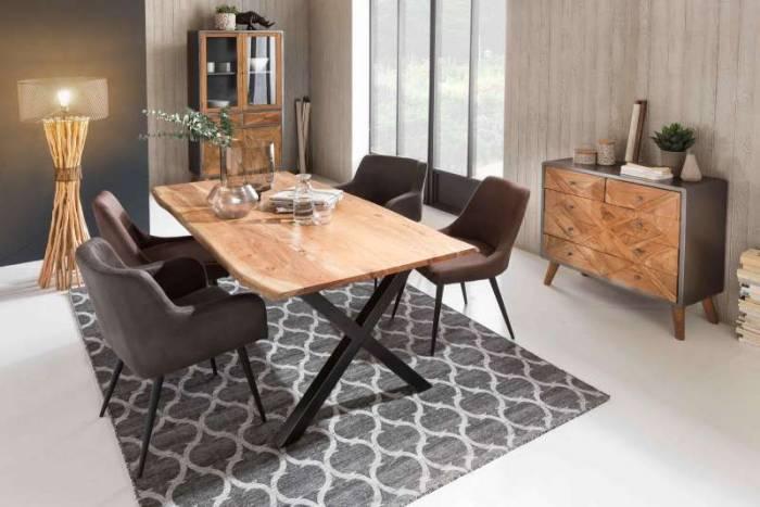 Scaun de dining Austin, 84x59x60.5 cm, otel/ ecopiele, gri/ negru