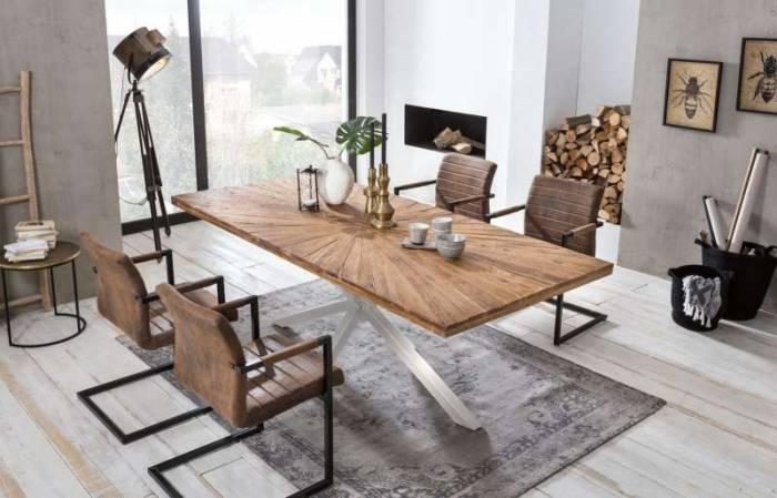 Scaun de dining Suede, 84x60x55 cm, oțel/ ecopiele, maro/ negru