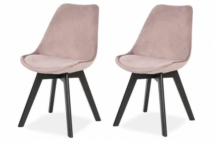 Set de 2 scaune de dining Capri, catifea, roz