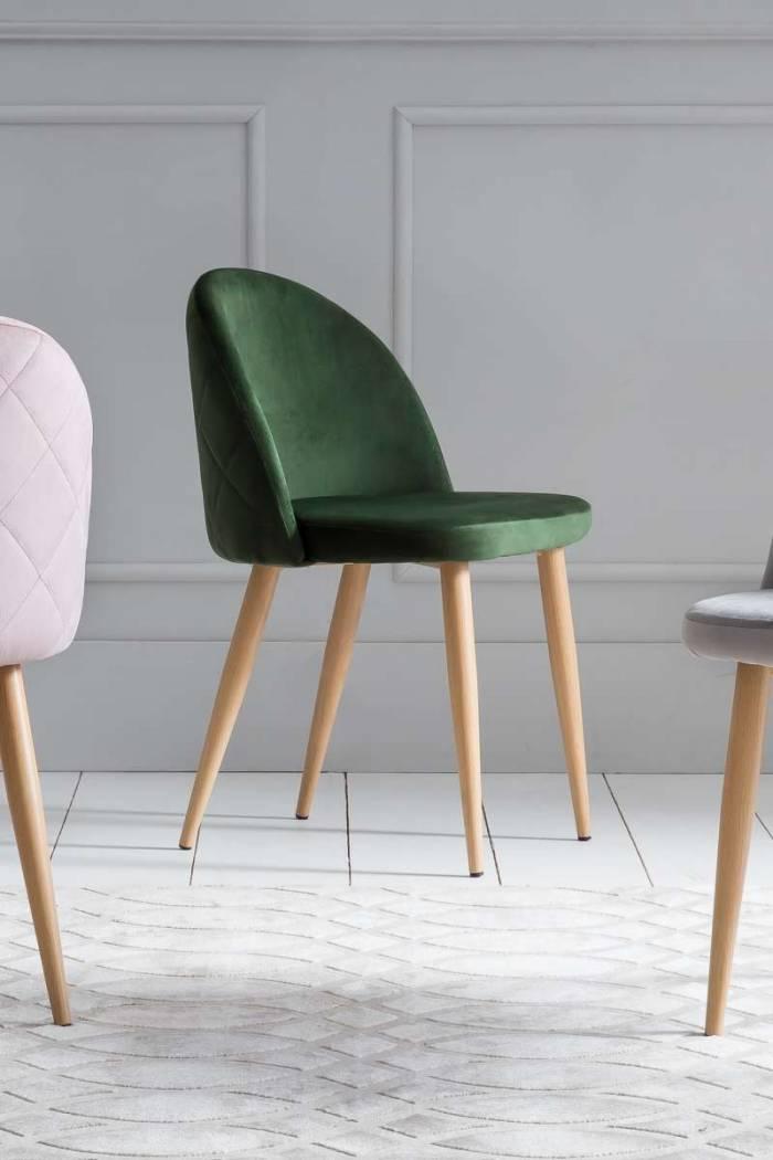 Set de 2 scaune Venza, catifea, verde