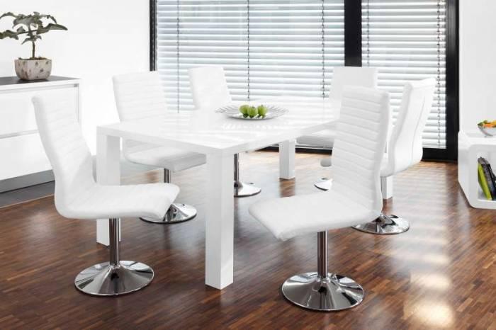 Set de 4 scaune de dining Parker, ecopiele, alb
