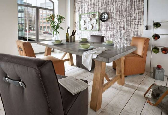 Set de două scaune dining Albero, 89.5x73x56 cm, piele/lemn, cognac/negru