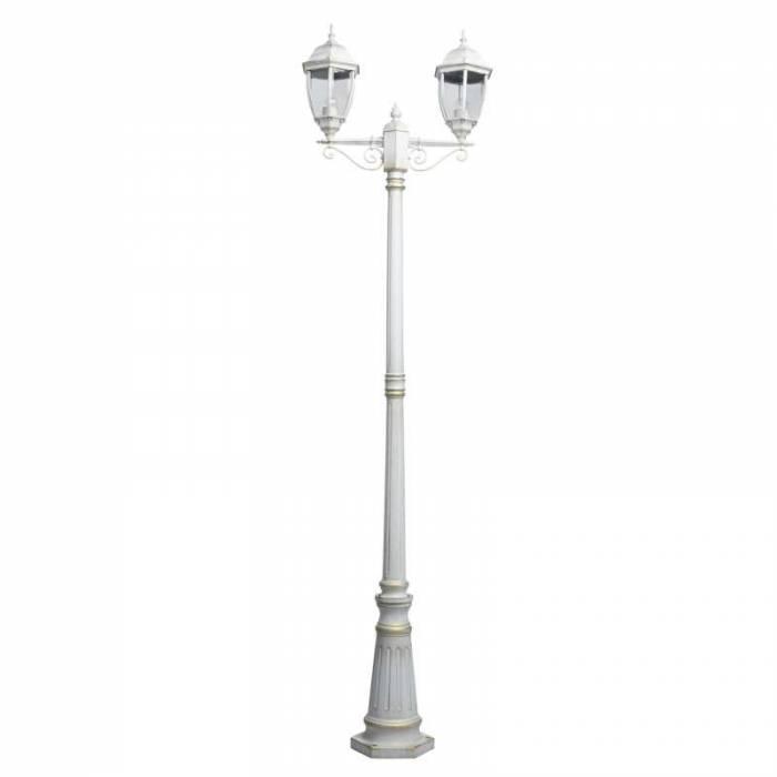Stâlp de iluminat exterior cu două brațe Ronnie, 228x20x64 cm, aluminiu/ sticla, alb