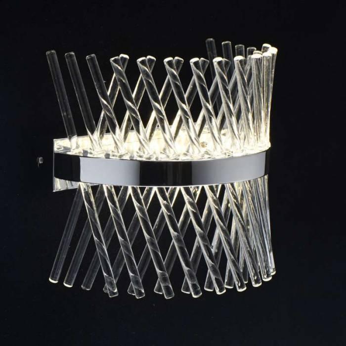 Veioză cu tuburi de cristal albă Hubert, 16x25x24 cm, metal/ aluminiu/ sticla, crom