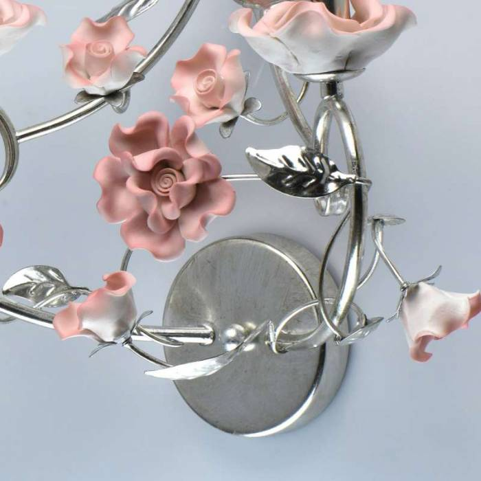 Veioză florală roz Hanna, 26x43x49 cm, metal/ ceramica, argintiu