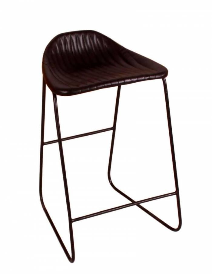Scaun de bar Scandiz, 85x45x42 cm, metal/ecopiele, negru