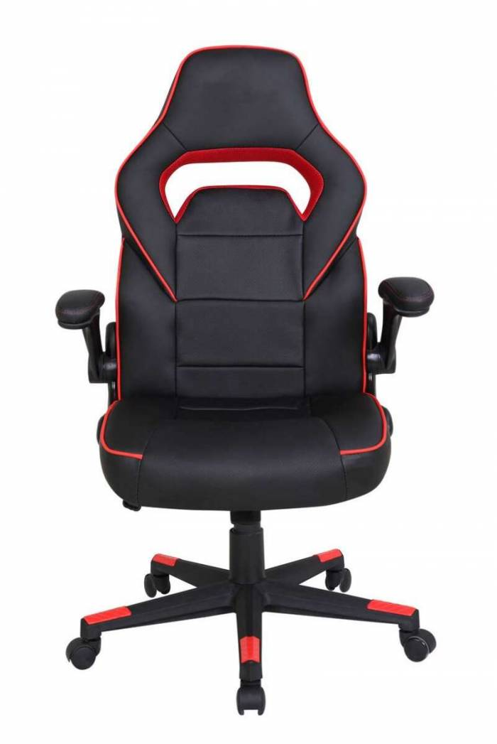 Scaun de birou Natasha, 117x72x71 cm, metal cromat/ piele ecologica, negru/ roșu