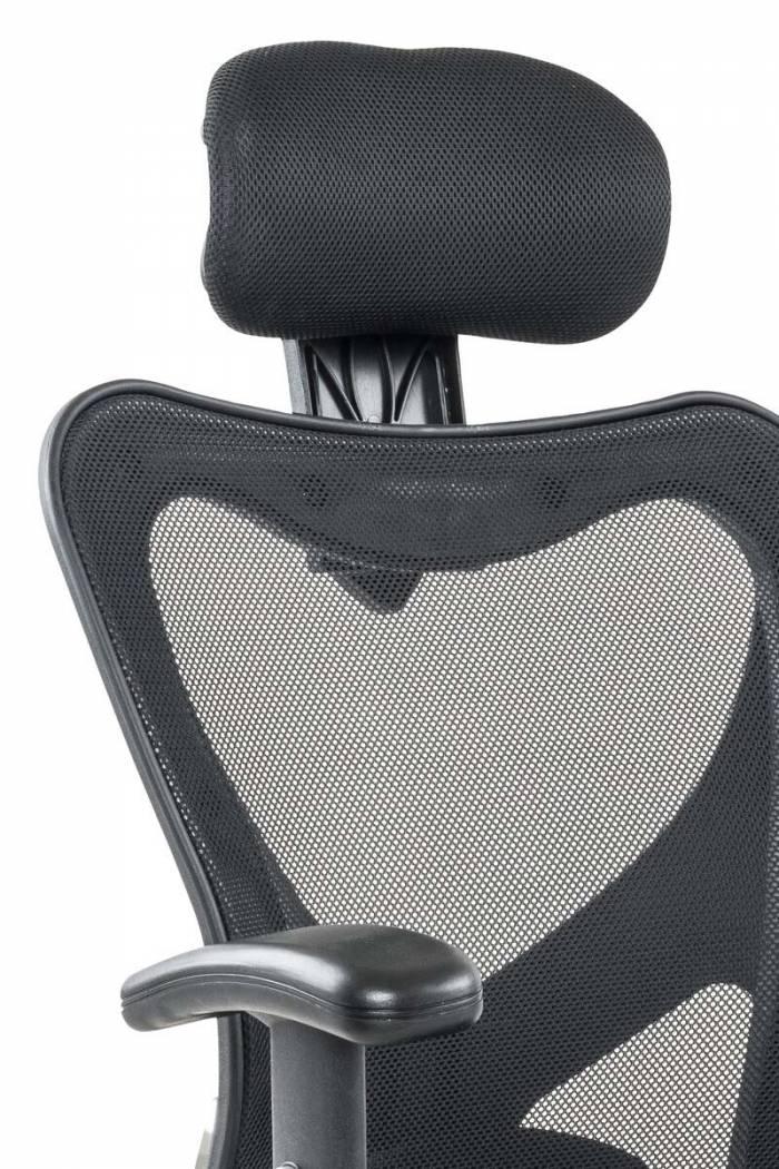 Scaun de birou negru/gri Vannessa, 118x62x60 cm, metal/ piele ecologica, negru/ gri