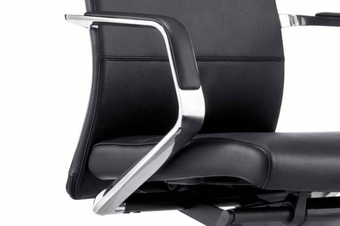 Scaun de birou negru Roseline, 117x60x62 cm, aluminiu/ piele , negru