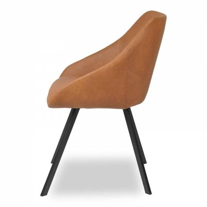 Set de 2 scaune Luiso, ecopiele/metal, maro