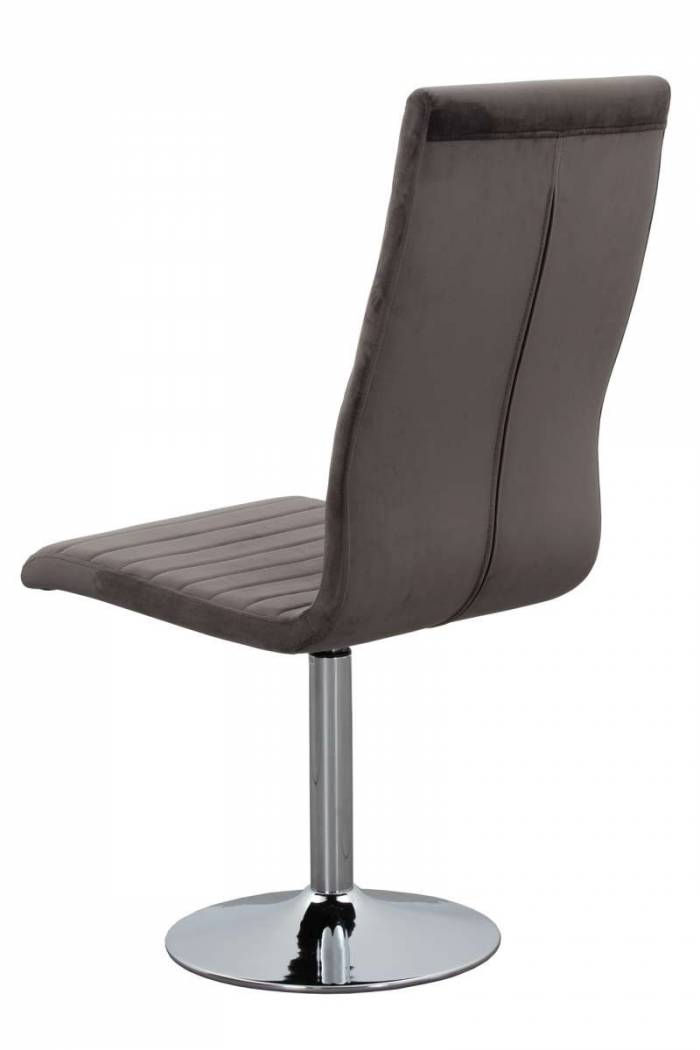 Set de 4 scaune rotative de dining Anderson, catifea, gri