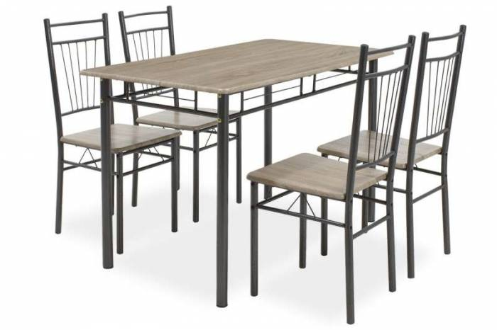 Set masă cu 4 scaune Roza Sonoma Grey