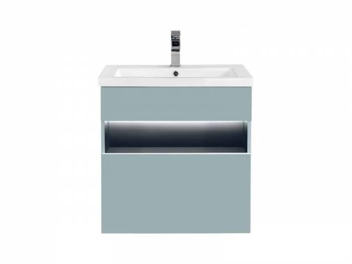 Set mască cu lavoar cu sertar și LED Bahama Mint 60x68x46 cm, pal/ mdf, albastru/ antracit