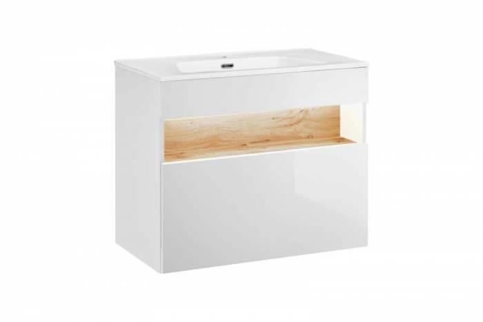 Set mască lavoar cu sertar și LED Bahama White 80x68x46 cm, pal/ mdf, alb/ maro