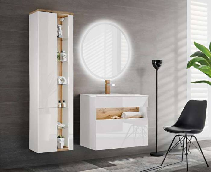 Set mobilier pentru baie Bahama White, pal, alb/ maro