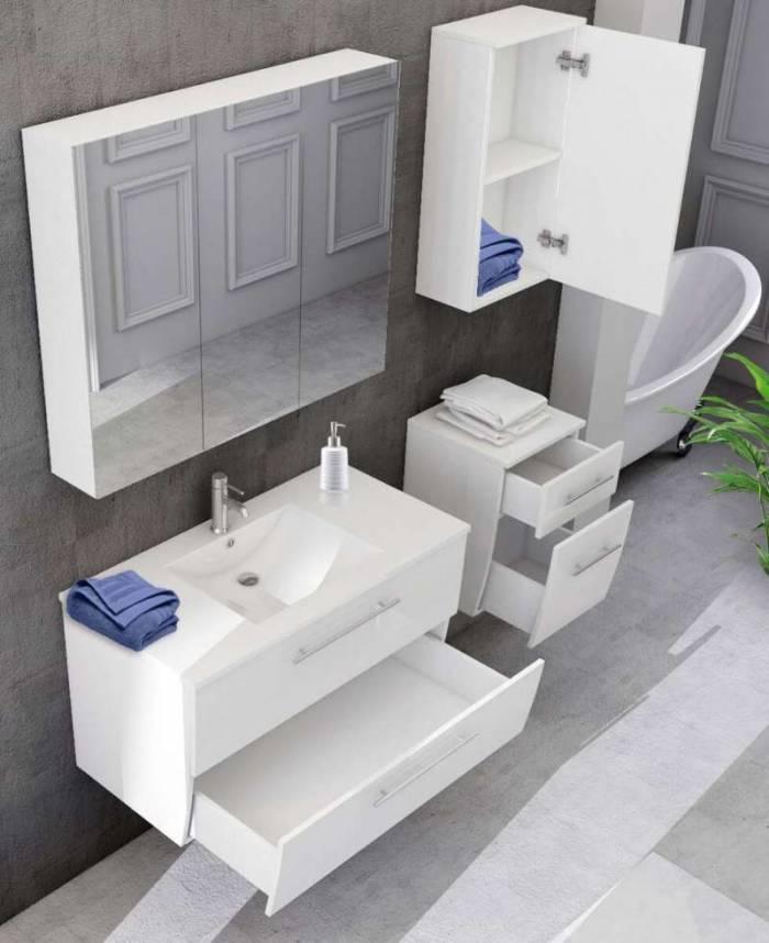 Set mobilier pentru baie Mariam 90 cm, mdf, alb lucios