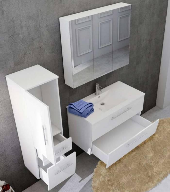 Set mobilier pentru baie Monique 90 cm, mdf, alb lucios