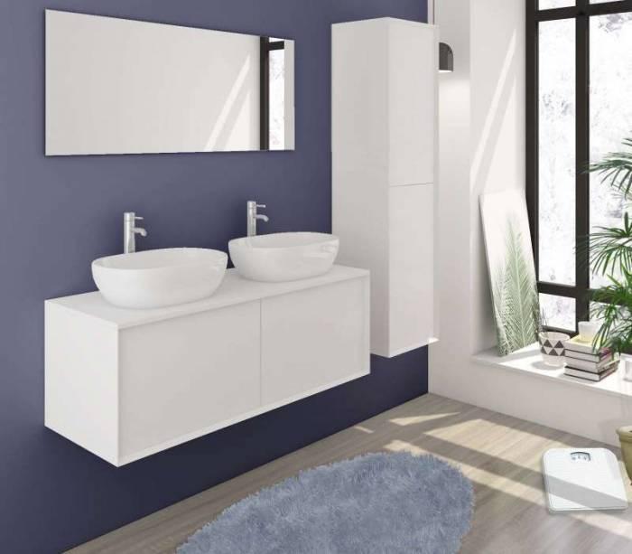 Set mobilier pentru baie Natalya 120 cm, mdf, alb lucios