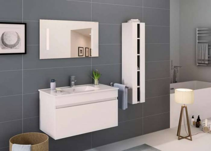 Set mobilier pentru baie Paula 90 cm, mdf, alb lucios