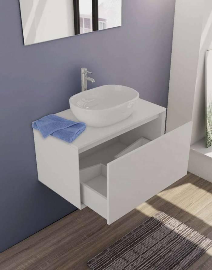 Set mobilier pentru baie Pete 80 cm, mdf, alb lucios