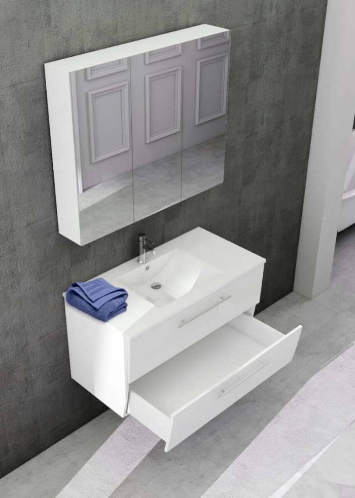 Set mobilier pentru baie Queen 90 cm, mdf, alb lucios