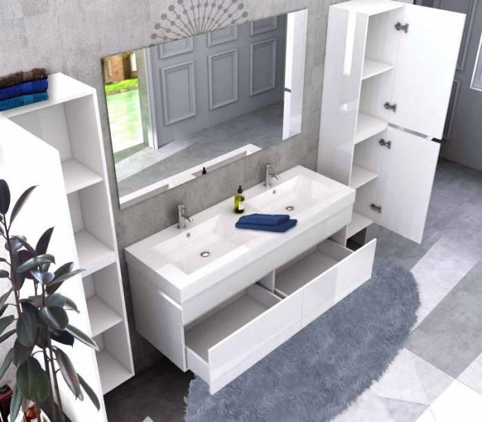 Set mobilier pentru baie Reina 140 cm, mdf, alb lucios