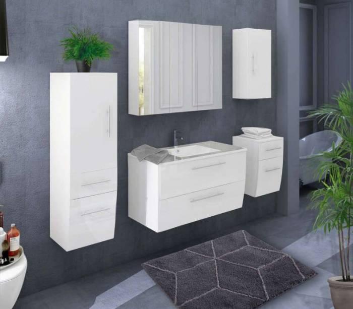 Set mobilier pentru baie Ronna 90 cm, mdf, alb lucios