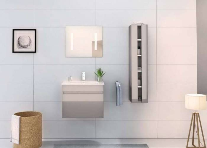 Set mobilier pentru baie Ryan 60 cm, mdf, gri lucios