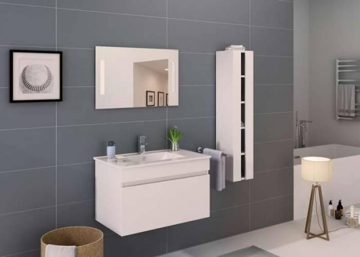 Set mobilier pentru baie Sandi 80 cm, mdf, alb lucios