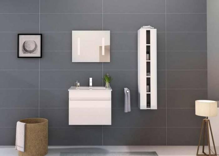 Set mobilier pentru baie Sergio 60 cm, mdf, alb lucios