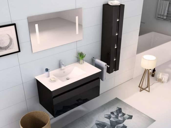Set mobilier pentru baie Tequila 90 cm, mdf, negru lucios