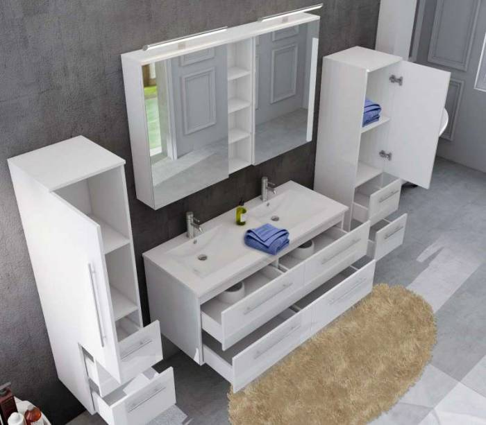 Set mobilier pentru baie Violeta 120 cm, mdf, alb lucios