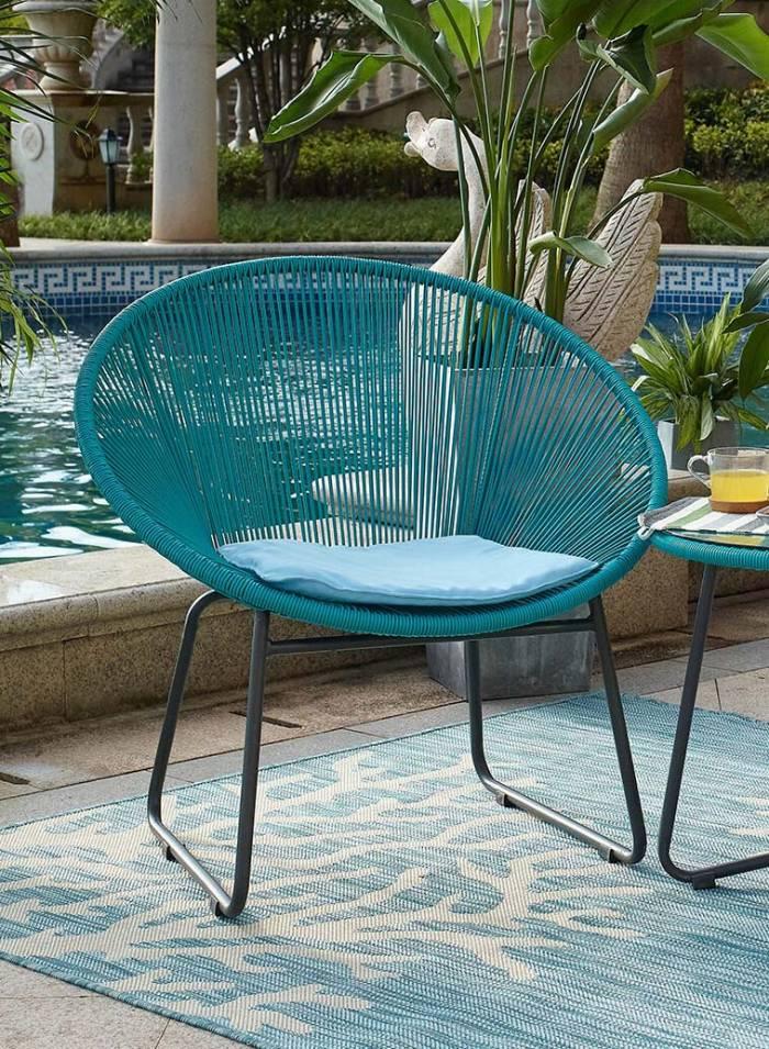 Set mobilier pentru grădină din plastic Leona, plastic/ metal, albastru/ maro