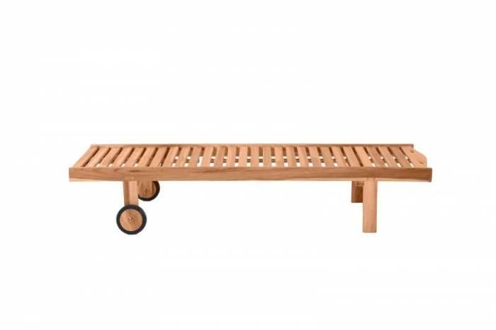 Șezlong de grădină Rachelle, 36x65x200 cm, lemn, bej
