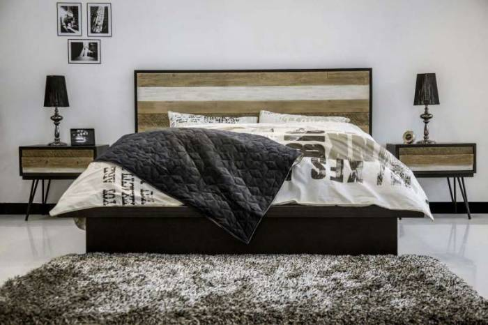 Pat dublu Beth, 140x200 cm, lemn de acacia/ mdf/ metal, gri/ negru