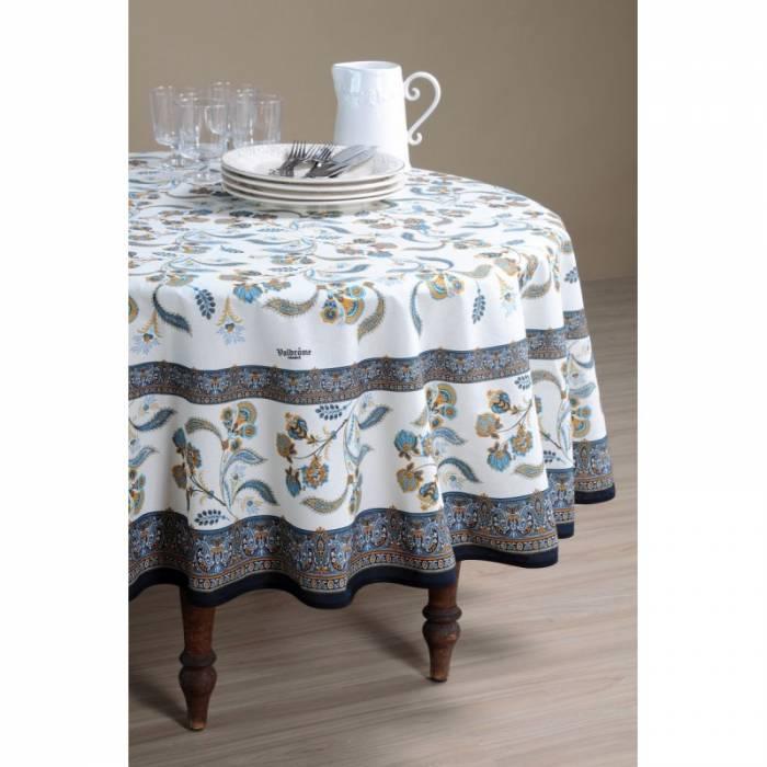 Față de masă rotundă elegantă albastră Bastide Bleu 180 cm