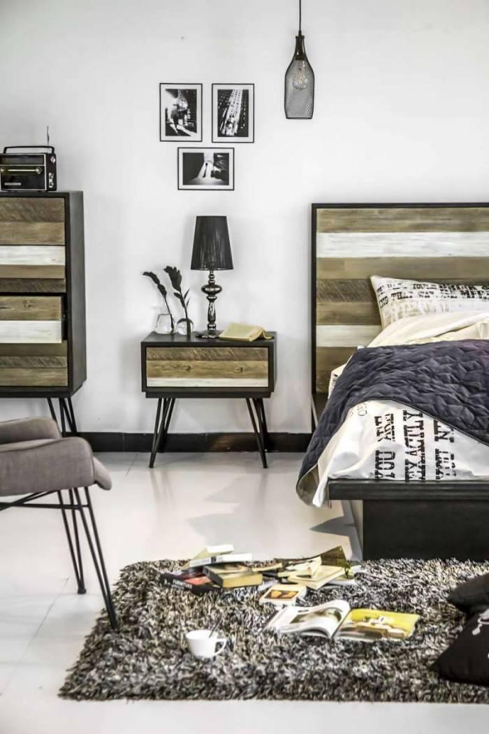 Noptieră Beth, 58x60x45 cm, lemn de acacia/ mdf/ metal, gri/ negru