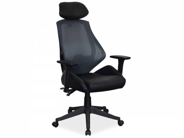 Scaun de birou Q-046 102x52x67 cm, textil/ecopiele, negru