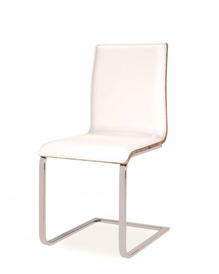Scaun de dining H690 43x89x43x46 cm, ecopiele/lemn/metal, alb/maro