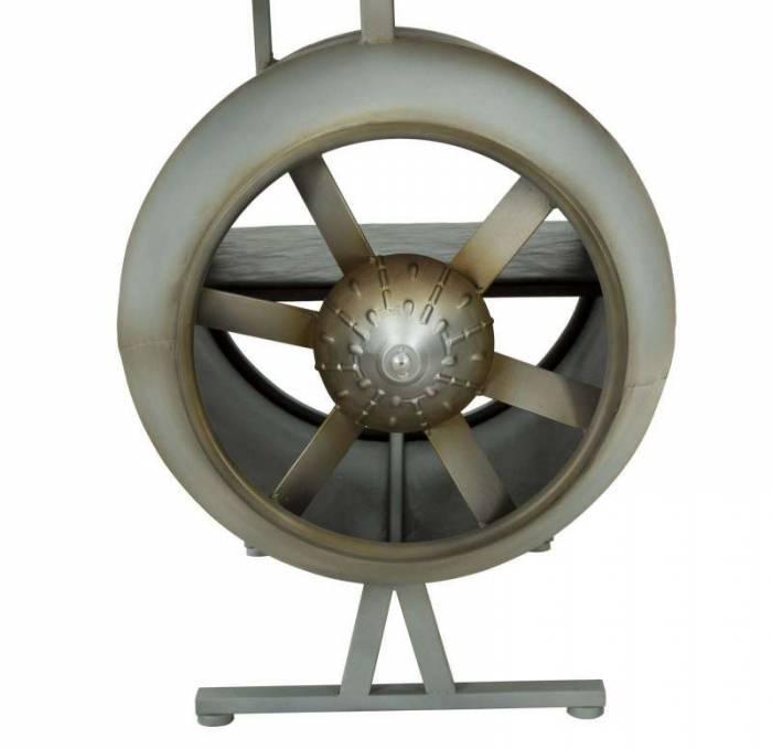 Birou Aviator, 71x181x70.5 cm, metal/ mdf/ pu, negru/ gri