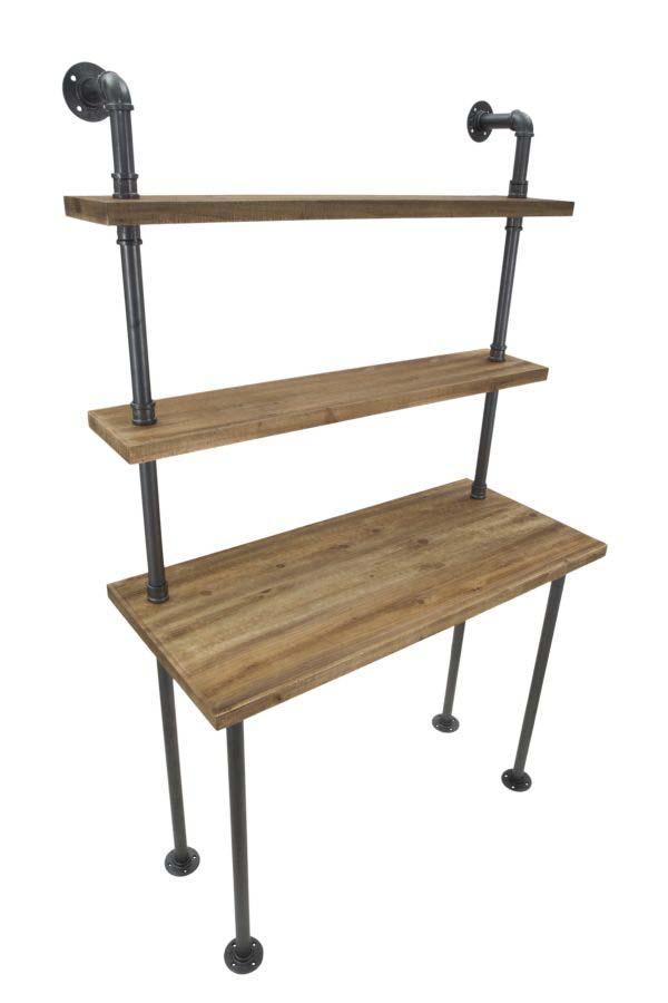 Birou cu 2 rafturi Ibiza, 165.5x100x45 cm, lemn de brad/ metal, negru/ gri/ maro