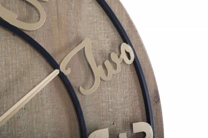 Ceas de perete Benjamin, 60x60x5 cm, metal/ mdf, maro/ auriu/ negru