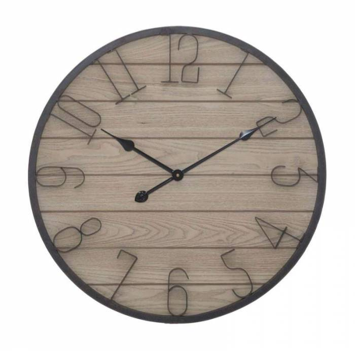 Ceas de perete Benny, 60x60x4,5 cm, mdf/ metal, maro