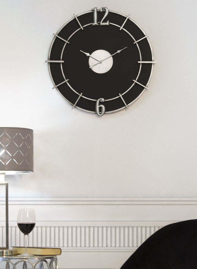 Ceas de perete Melva, 60x60x4,5 cm, metal/ mdf, argintiu/ negru