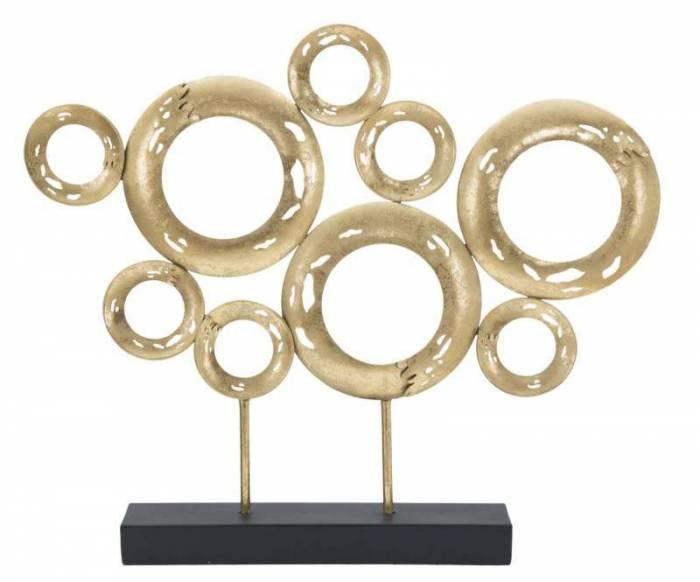 Decorațiune Izetta, 41x49x7 cm, metal, auriu/ negru