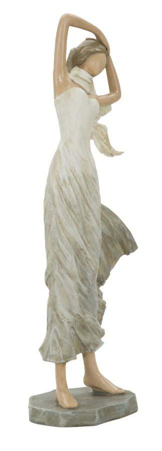 Decorațiune Jacquline, 33.5x14x9 cm, polirasina, alb/ crem