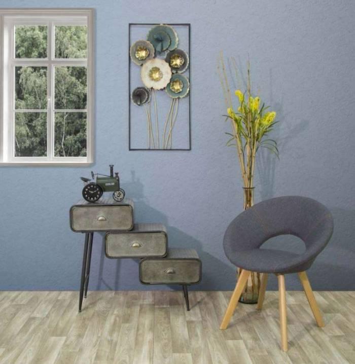 Fotoliu tapițat Bonnie, 77x55x65 cm, lemn de fag/ spuma/ textil/ placaj, gri