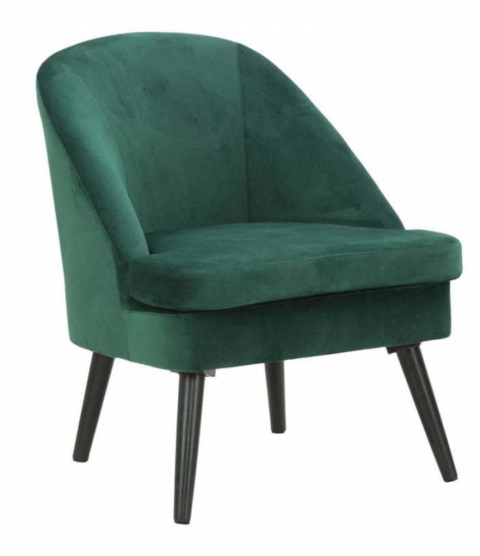 Fotoliu tapițat Josefa, 75.5x59x67 cm, lemn/ catifea, verde/ negru